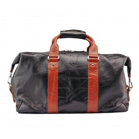 Дорожная сумка из натуральной кожи Ray Button Monte Carlo Black Tabac